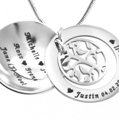 personalized My Family Tree Dome Necklace - Sterling Silver - Name My Jewelry ™