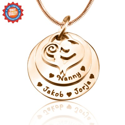 personalized Mother's Disc Double Necklace - 18ct Rose Gold Plated - Name My Jewelry ™