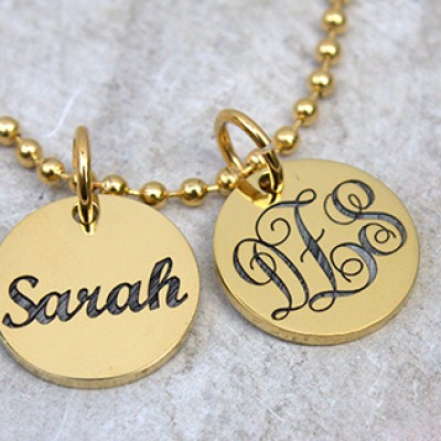 personalized Monogram Initial Disc Necklace - Name My Jewelry ™