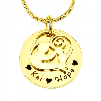 personalized Mother's Disc Single Necklace - 18ct Gold Plated - Name My Jewelry ™