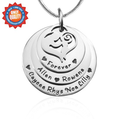 personalized Mother's Disc Triple Necklace - Sterling Silver - Name My Jewelry ™