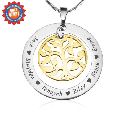 personalized My Family Tree Necklace - Two Tone - Gold Tree - Name My Jewelry ™