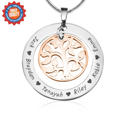 personalized My Family Tree Necklace - Two Tone - Rose Gold Tree - Name My Jewelry ™