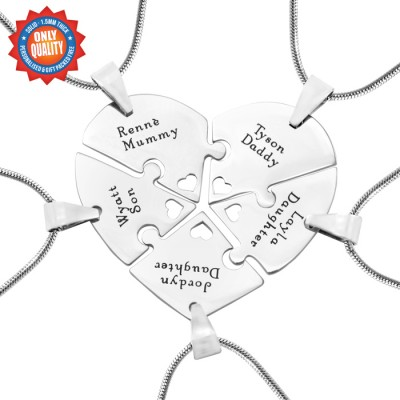 personalized Penta Heart Puzzle - Five personalized Necklaces - Name My Jewelry ™