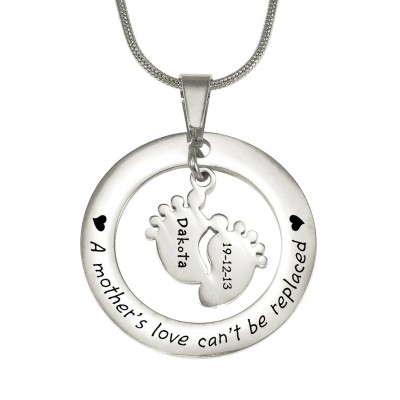 personalized Cant Be Replaced Necklace - Single Feet 18mm - Sterling Silver - Name My Jewelry ™