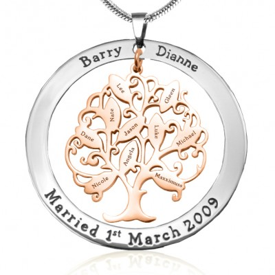personalized Tree of My Life Washer 10 - Two Tone - Rose Gold Tree - Name My Jewelry ™