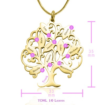 personalized Tree of My Life Necklace 10 - 18ct Gold Plated - Name My Jewelry ™