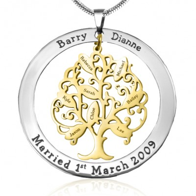 personalized Tree of My Life Washer 8 - Two Tone - Gold Tree - Name My Jewelry ™