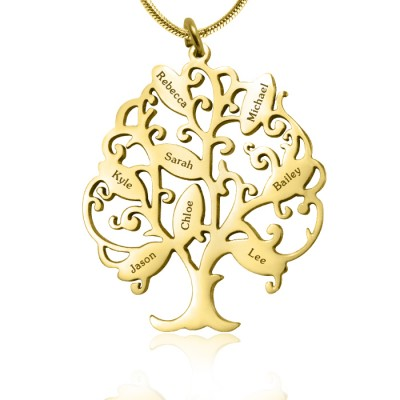 personalized Tree of My Life Necklace 8 - 18ct Gold Plated - Name My Jewelry ™