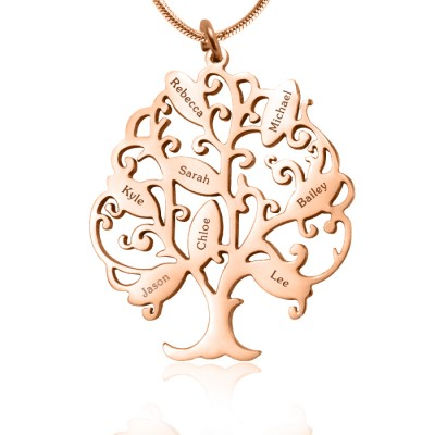 personalized Tree of My Life Necklace 8 - 18ct Rose Gold Plated - Name My Jewelry ™