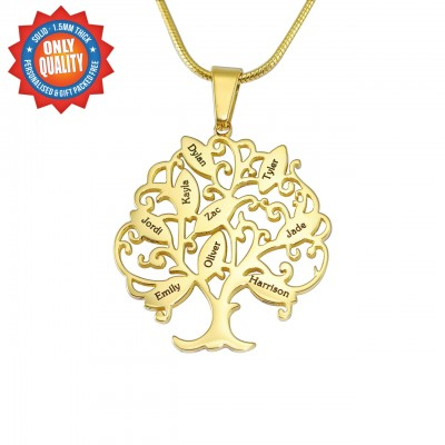 personalized Tree of My Life Necklace 9 - 18ct Gold Plated - Name My Jewelry ™
