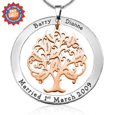 personalized Tree of My Life Washer 9 - Two Tone - Rose Gold Tree - Name My Jewelry ™