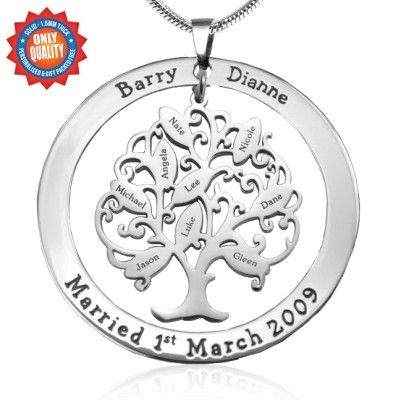 personalized Tree of My Life Washer 9 - Sterling Silver - Name My Jewelry ™