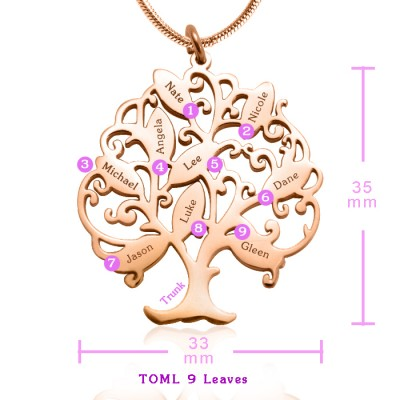 personalized Tree of My Life Necklace 9 - 18ct Rose Gold Plated - Name My Jewelry ™