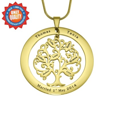 personalized Tree of My Life Washer 7 - 18ct Gold Plated - Name My Jewelry ™