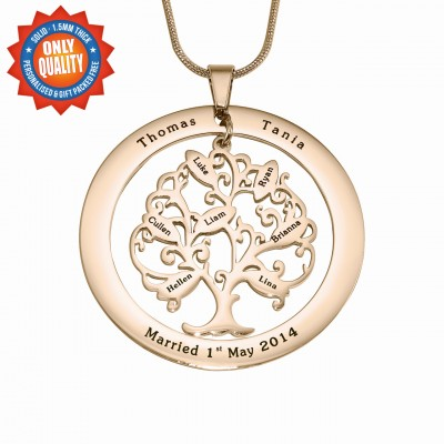 personalized Tree of My Life Washer 8 - 18ct Rose Gold Plated - Name My Jewelry ™