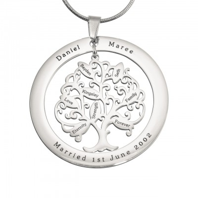 personalized Tree of My Life Washer 8 - Sterling Silver - Name My Jewelry ™