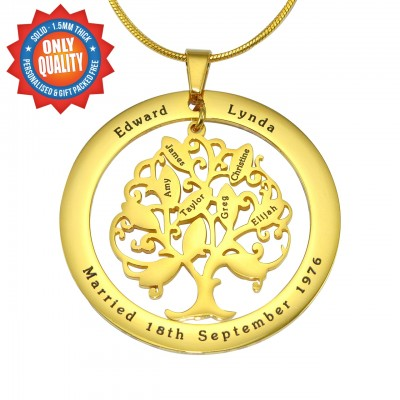 personalized Tree of My Life Washer Necklace 10 - 18ct Gold Plated - Name My Jewelry ™
