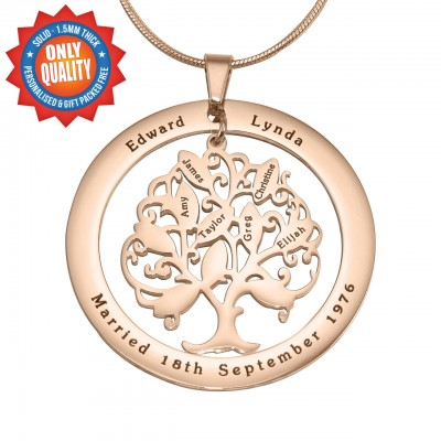 personalized Tree of My Life Washer 10 - 18ct Rose Gold Plated - Name My Jewelry ™
