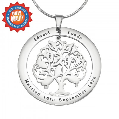 personalized Tree of My Life Washer Necklace 10 - Sterling Silver - Name My Jewelry ™
