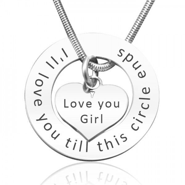 personalized Circle My Heart Necklace - Sterling Silver - Name My Jewelry ™
