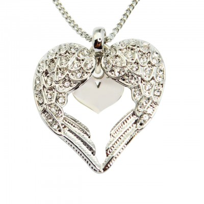 personalized Angels Heart Necklace with Heart Insert - Name My Jewelry ™