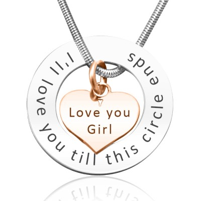 personalized Circle My Heart Necklace - Two Tone HEART in Rose Gold - Name My Jewelry ™