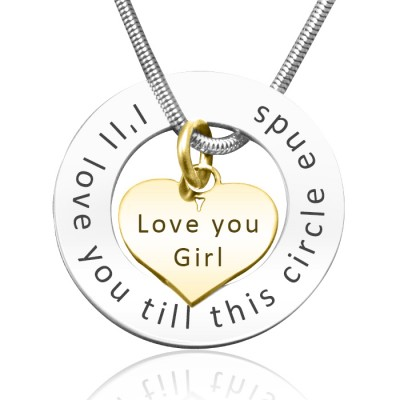 personalized Circle My Heart Necklace - Two Tone HEART in Gold - Name My Jewelry ™