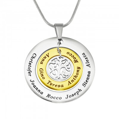 personalized Circles of Love Necklace Tree - TWO TONE - Gold  Silver - Name My Jewelry ™