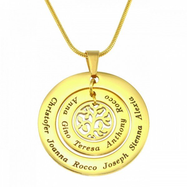 personalized Circles of Love Necklace Tree - 18ct Gold Plated - Name My Jewelry ™