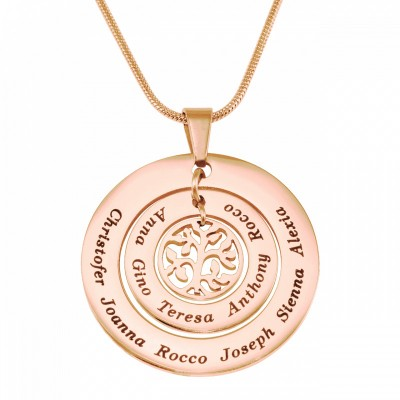 personalized Circles of Love Necklace Tree - 18ct Rose Gold Plated - Name My Jewelry ™