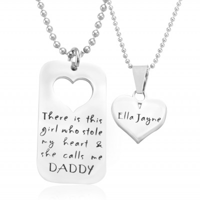 personalized Dog Tag - Stolen Heart - Two Necklaces - Silver - Name My Jewelry ™