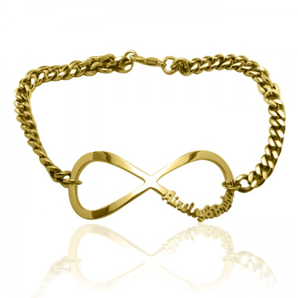 personalized Infinity Name Bracelet/Anklet - 18ct Gold Plated - Name My Jewelry ™