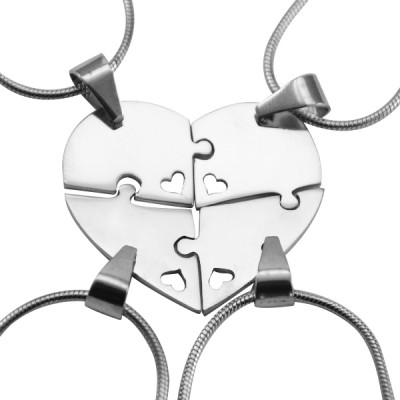 personalized Quad Heart Puzzle - Four personalized Necklaces - Name My Jewelry ™