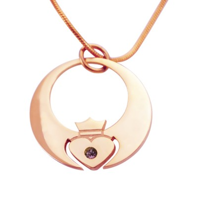 personalized Queen of My Heart Necklace - 18ct Rose Gold Plated - Name My Jewelry ™