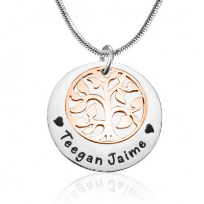 personalized My Family Tree Single Disc - Two Tone - Rose Gold  Silver - Name My Jewelry ™