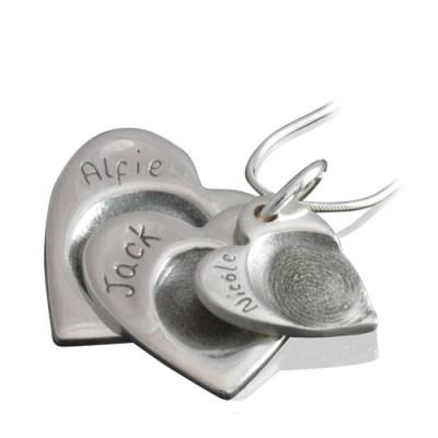925 Sterling Silver FingerPrint Cascade Triple Heart Pendant - Name My Jewelry ™