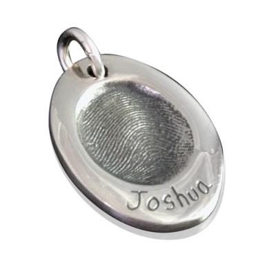 925 Sterling Silver FingerPrint Oval Pendant - Name My Jewelry ™