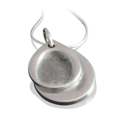 925 Sterling Silver FingerPrint Cascade TearDrop Pendant - Name My Jewelry ™