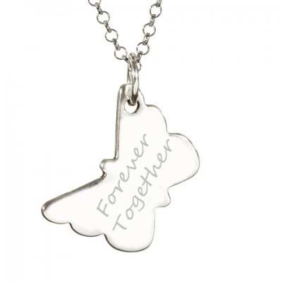 925 Sterling Silver FingerPrint Butterfly Pendant - Name My Jewelry ™