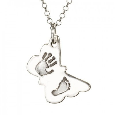 Butterfly Hand Foot Print Necklace - Name My Jewelry ™