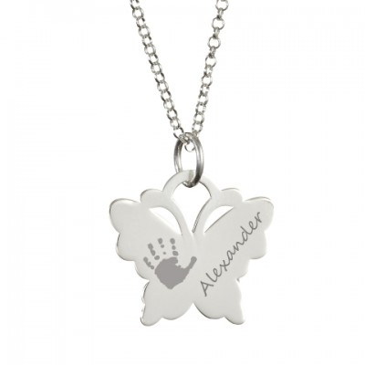 Engraved Butterfly Handprint Necklace - Name My Jewelry ™