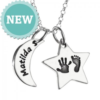 Moon & Star Hand & Foot Print Necklace - Name My Jewelry ™