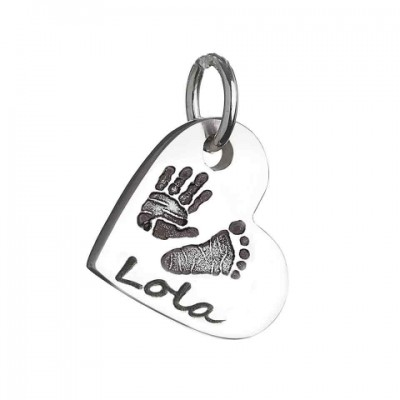 925 Sterling Silver Hand / Footprint Heart Charm Necklace - Name My Jewelry ™