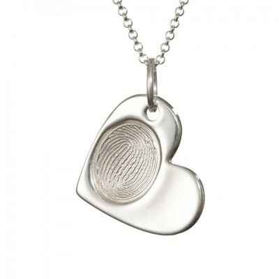 925 Sterling Silver FingerPrint Cascade Heart Pendant - Name My Jewelry ™