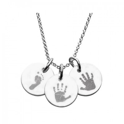 925 Sterling Silver Hand/Footprint Engraved Disc Pendant - Name My Jewelry ™