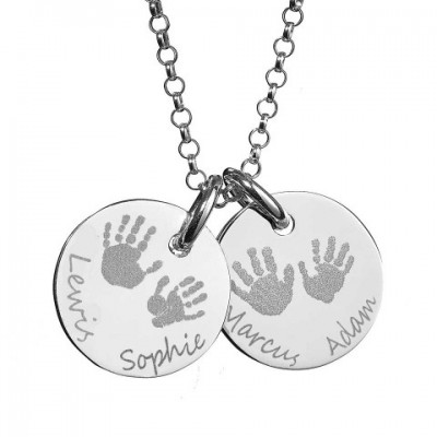 Large Engraved Handprint Necklace For Children - Name My Jewelry ™