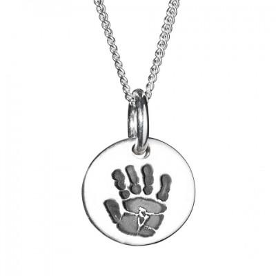 925 Sterling Silver Hand / Footprint Medium Circle Pendant - Name My Jewelry ™
