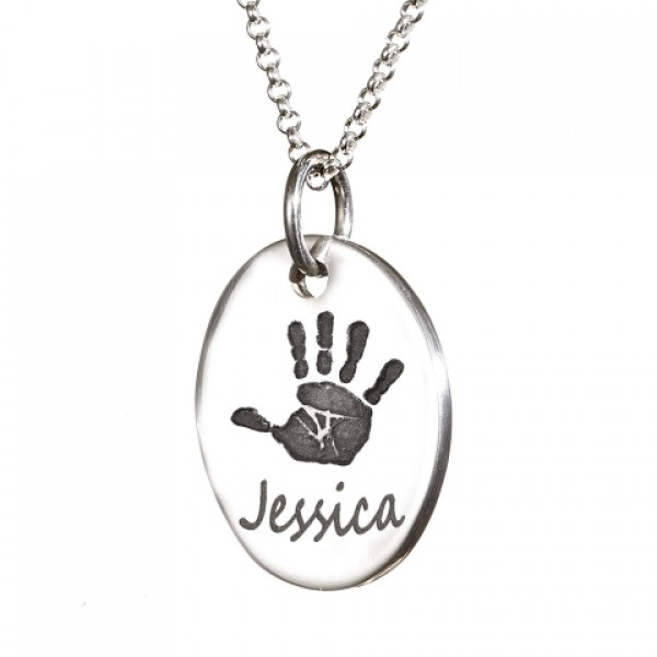 925 Sterling Silver Hand / Footprint Medium Tear-drop Pendant - Name My Jewelry ™