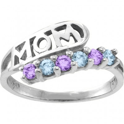 Cherish  MOM Cut-out 2-6 Stones Ring  - Name My Jewelry ™